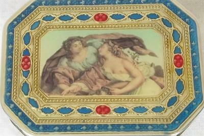 A Stunning Solid Sterling Silver & Enamel Snuff Box Picture Of Two Ladies 2002.