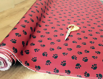 pet bed Waterproof paw print  Fabric Material g Cover Fabric 1m to 50 mitre red