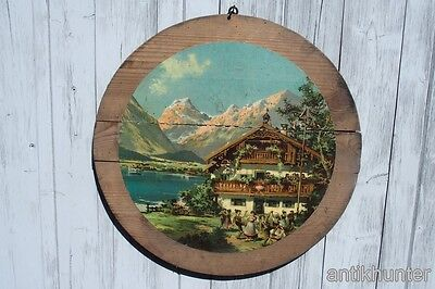 antique german wooden hunt target with paper image from  about 1920  r28
