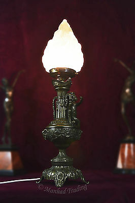 Heavy Edwardian two handled cast bronze table lamp cherub & mythtical heads
