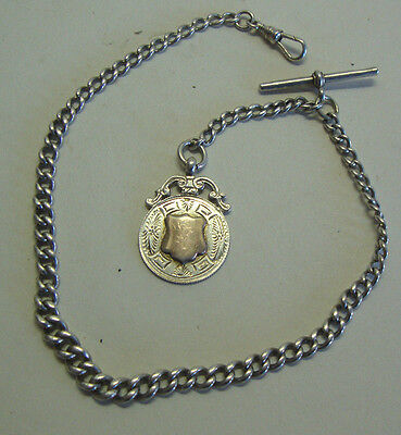 Antique English hallmarked silver pocket watch chain with Birmingham silver fob