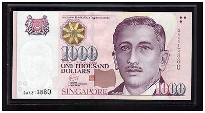 "SINGAPORE $1000 Portrait GCT Banknote with First Prefix "" AA "", 2AA313880  UNC"