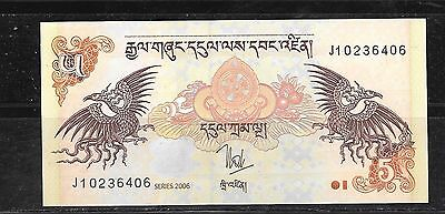BHUTAN #28a 2006 5 NGUTRUM NEW UNCIRCULATED BANKNOTE BILL CURRENCY PAPER MONEY