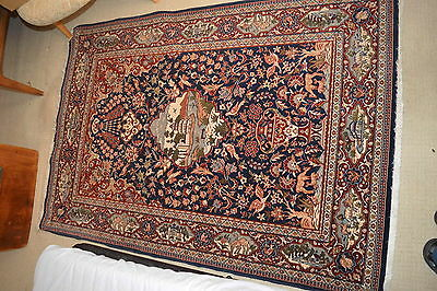 Isfahan Rug, Architecture Animals & Foliage, Excellent