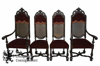 4 Renaissance Revival Carved Gothic Cane Back Throne Dining Chairs Red Velvet