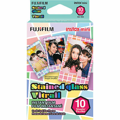 Fujifilm Instax Mini Stained Glass Instant Film 10 Credit Card Size Photos 08/18