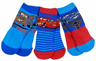 Boys Disney Cars Socks Pack of Three Shoe Size 6-8.5 and 9-12 Shoe Size
