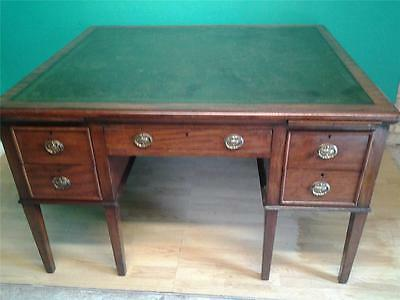 Large Edwardian mahogany partners writing table desk leather top