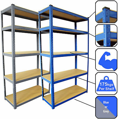 Racking Bays 5 Tier Boltless Garage Shelving Unit Storage Rack Heavy Duty Shelve