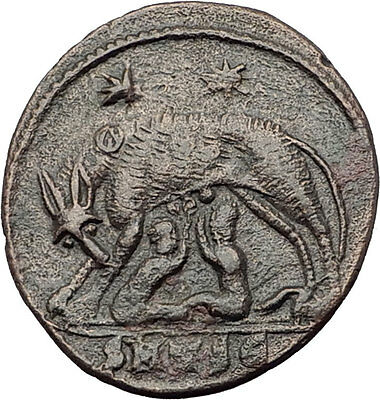 CONSTANTINE I the GREAT 330AD Romulus Remus WOLF Rome Ancient Roman Coin i63571