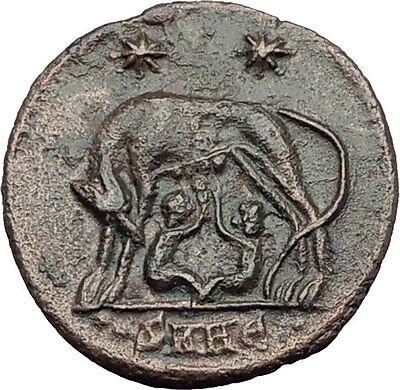 CONSTANTINE I the GREAT 330AD Romulus Remus WOLF Rome Ancient Roman Coin i63576