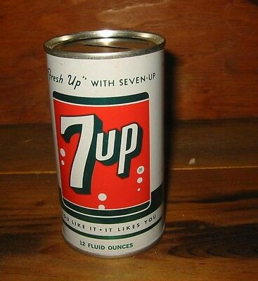 1950's 7 UP Soda Bank top can; Seven-Up Research Corp, St Louis, MO AWESOME