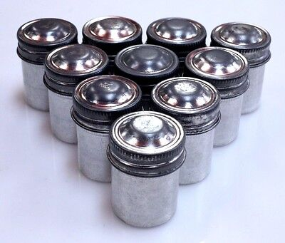Kodak Film Cans Set of 10 silver excellent cond 35mm metal geocaching crafts