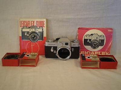 LEICA LEICAFLEX LEITZ WETZLAR 35mm SLR CAMERA BODY w/ INSTRUCTION GUIDE BOOKS
