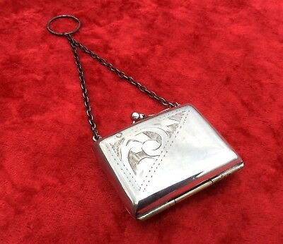 Lovely Antique Chased Silver Plated Evening Coin Purse C.1900