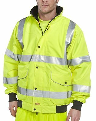 BSeen High Visibility Yellow Waterproof Breathable Bomber Jacket Coat Class 3