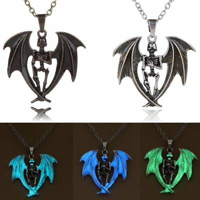 Vintage Glow In The Dark Punk Skeleton Wing Pendant Necklace Men's Jewelry Gift