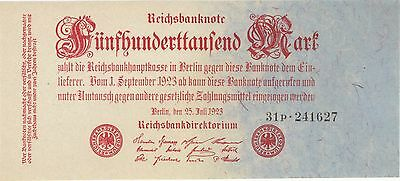 1923 500,000 Mark Germany Currency Reichsbanknote Unc German Banknote Note Bill