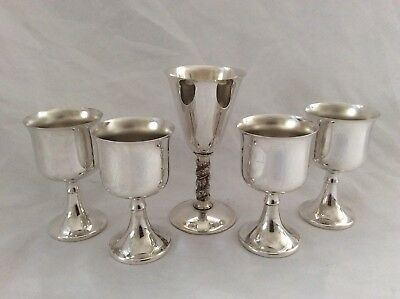 Joblot Of 5 Silver Plated Goblets Ianthe England & Toledo Spain