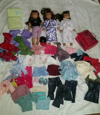 Lot Of 3 American Girl Truly Me Dolls Brunette Plus Clothes