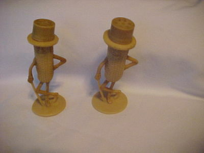 "VINTAGE 1950's PLANTERS MR. PEANUT TAN SALT & PEPPER SHAKERS 3"" U.S.A. ****"