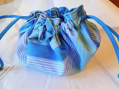 Vera Bradley Lighten Up Drawstring Jewelry Pouch in Blue Tonal Stripe