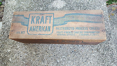 L:arge Vintage KRAFT Wooden Cheese Box Divided! NR
