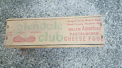 Vintage Glendale Club Wooden Cheese Box with Lid! Wisconsin. NR