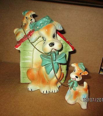 Vintage Mother And Pups And Dog House Ceramic Bank