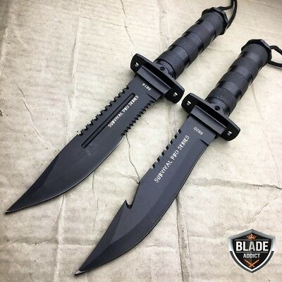 "2PC 11"" Tactical Fishing Hunting Fixed Blade Knife + Sheath + Survival Kit NEW"