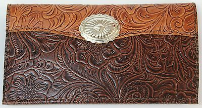 Lg Concho -Tan & Chocolate Western Cowhide Leather Checkbook Cover Free Shipping
