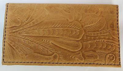 Saddle Tan Western Embossed Cowhide  Leather Checkbook Cover Free Shipping