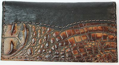 Chocolate Alligator Embossed Cowhide  Leather Check Book Cover Free Ship