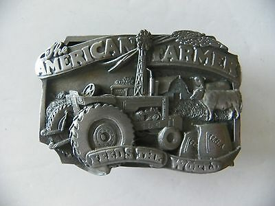 1983 American Farmer Feeds the World Pewter Belt Buckle