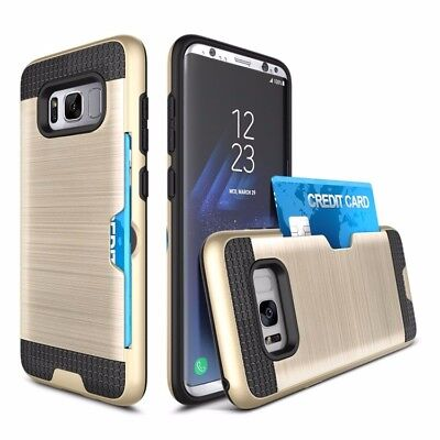Slim Brush Hard Cover Case with Credit ID Card Holder for Samsung Galaxy S8