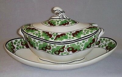 c.1805 Spode overglaze decorated Creamware Sauce Tureen on Stand pattern 1557