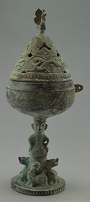 Collectible Decorated Bronze Carved Soldier Dragon Incense Burner