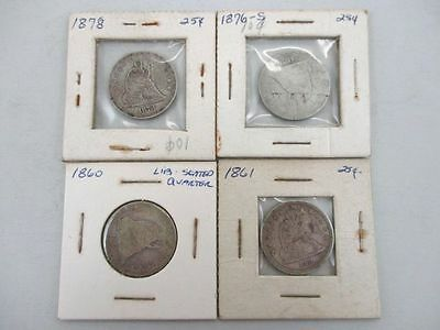 4 U.S. Seated Liberty $0.25 Silver Coins Dates Between 1860 - 1878