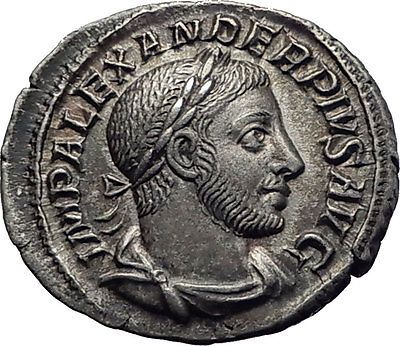 SEVERUS ALEXANDER 233AD Authentic Ancient Silver Roman Coin SOL Whip i63371