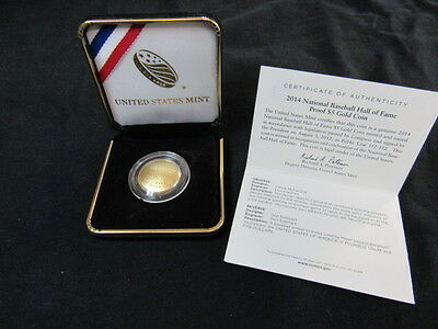2014 W GOLD BASEBALL HALL OF FAME UNCIRCULATED $5 COIN w COA & BOX