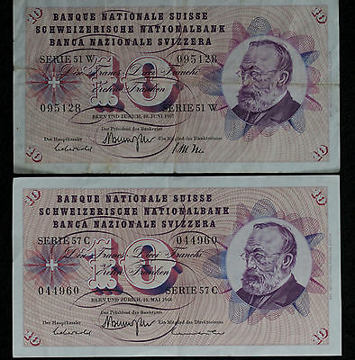 Two Swiss National Banknotes - 10 Franken - 1967, 1968!!