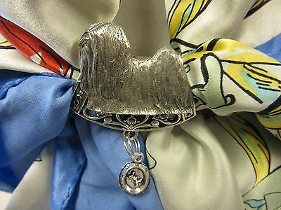 Sweet Lhasa Apso Scarf Slide With Feeding Bowl-One Of A Kind
