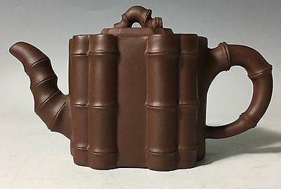 Signed bamboo CHINESE YIXING CLAY TEAPOT
