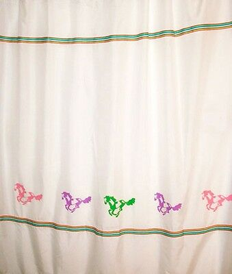 Colorful Children's Horse Shower Curtain *Original Bright Ponies and ribbon SALE