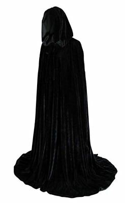 50 in Lined Black Velvet Cloak Cape Wedding Wicca LOTR Cosplay Star Wars LARP