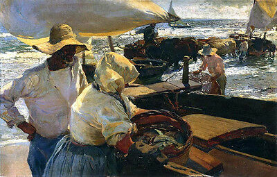Hand paint Oil painting impressionism Beach of Valencia Morning Sun farmers cows