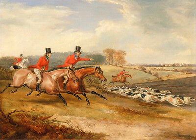 """Art Oil painting Hunter Hunting Excited rider with hounds dogs Catching prey 36"""""""