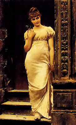Perfect Oil painting Alfred Seifert - a young beauty in a doorway Hand painted