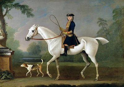 Oil painting count man portraits ride white horses with dog in landscape canvas