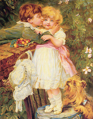 Perfect Oil painting Hand painted children little girl and boy the first kiss